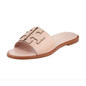 New Tory Burch Blush Pink Logo Slide Flat Sandal 9